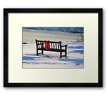 Red Bow White Snow Framed Print