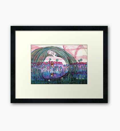 Girl in a Field of Blue Flowers- Drawing Framed Print