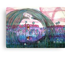 Girl in a Field of Blue Flowers- Drawing Canvas Print