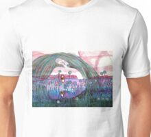 Girl in a Field of Blue Flowers- Drawing Unisex T-Shirt