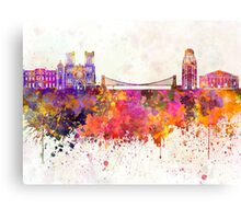 Bristol skyline in watercolor background Canvas Print