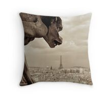 Guarding Eiffel Throw Pillow