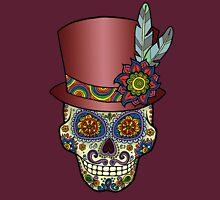 Sugar Skull Two - Mexican Top Hat - Dia de Los Muertos Unisex T-Shirt