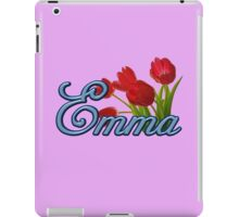 Emma With Red Tulips and Cobalt Blue Script iPad Case/Skin
