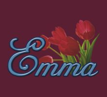 Emma With Red Tulips and Cobalt Blue Script by ThePixelFrame