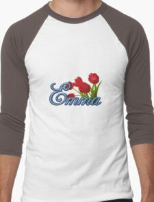 Emma With Red Tulips and Cobalt Blue Script Men's Baseball ¾ T-Shirt