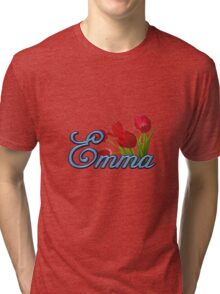 Emma With Red Tulips and Cobalt Blue Script Tri-blend T-Shirt