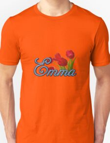 Emma With Red Tulips and Cobalt Blue Script T-Shirt