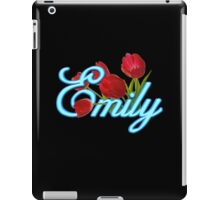 Emily With Red Tulips and Neon Blue Script iPad Case/Skin