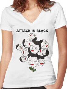 Attack In Black Women's Fitted V-Neck T-Shirt