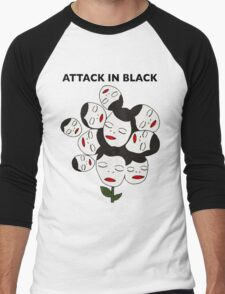 Attack In Black Men's Baseball ¾ T-Shirt
