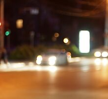 Defocused car and the lights from the headlights by vladromensky