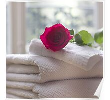 Roses and Towels in the Bathroom Poster