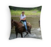 A Cool Wet Ride Throw Pillow