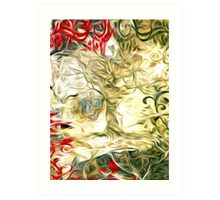 Abstract Flowers and Tree Oil Painting Art Print