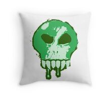 Skull - Green Throw Pillow