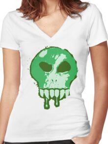Skull - Green Women's Fitted V-Neck T-Shirt