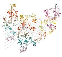 Floral Music Notes 3 Photographic Print