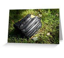 Baseball glove in the grass Greeting Card