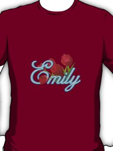 Emily With Red Tulips and Neon Blue Script T-Shirt