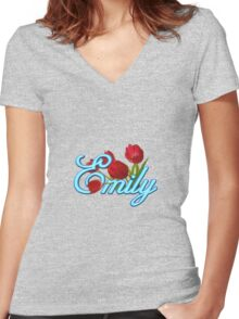 Emily With Red Tulips and Neon Blue Script Women's Fitted V-Neck T-Shirt