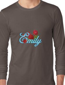 Emily With Red Tulips and Neon Blue Script Long Sleeve T-Shirt