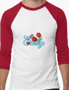 Emily With Red Tulips and Neon Blue Script Men's Baseball ¾ T-Shirt
