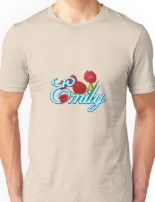 Emily With Red Tulips and Neon Blue Script Unisex T-Shirt