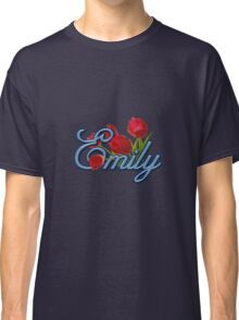 Emily With Red Tulips and Cobalt Blue Script Classic T-Shirt
