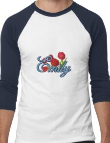 Emily With Red Tulips and Cobalt Blue Script Men's Baseball ¾ T-Shirt