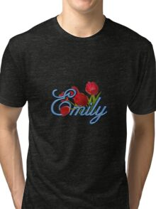 Emily With Red Tulips and Cobalt Blue Script Tri-blend T-Shirt