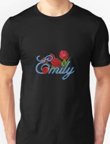 Emily With Red Tulips and Cobalt Blue Script T-Shirt