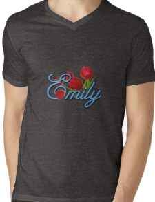 Emily With Red Tulips and Cobalt Blue Script Mens V-Neck T-Shirt