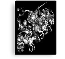 Durer, Four Horsemen of the Apocalypse, Revenge, Biblical, Prophesy, White on Black Canvas Print