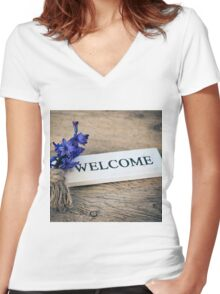 Welcome Door Sign Women's Fitted V-Neck T-Shirt
