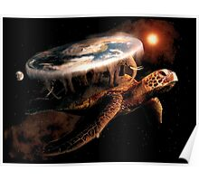 Turtle World - Space black transparency Poster