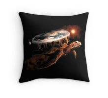 Turtle World - Space black transparency Throw Pillow