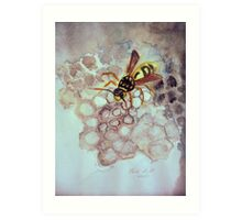 Wasp building her home Art Print