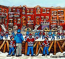 CANADIAN PAINTINGS OUTDOOR HOCKEY RINK IN THE CITY MONTREAL WINTER SCENES by Carole  Spandau