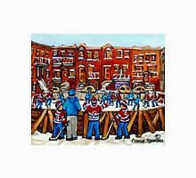CANADIAN PAINTINGS OUTDOOR HOCKEY RINK IN THE CITY MONTREAL WINTER SCENES Unisex T-Shirt