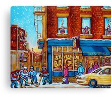 CANADIAN PAINTINGS ST.VIATEUR BAGEL SHOP WITH STREET HOCKEY GAME Canvas Print