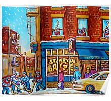 CANADIAN PAINTINGS ST.VIATEUR BAGEL SHOP WITH STREET HOCKEY GAME Poster