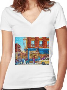 CANADIAN PAINTINGS ST.VIATEUR BAGEL SHOP WITH STREET HOCKEY GAME Women's Fitted V-Neck T-Shirt