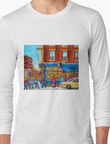 CANADIAN PAINTINGS ST.VIATEUR BAGEL SHOP WITH STREET HOCKEY GAME Long Sleeve T-Shirt