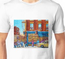 CANADIAN PAINTINGS ST.VIATEUR BAGEL SHOP WITH STREET HOCKEY GAME Unisex T-Shirt