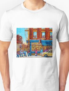 CANADIAN PAINTINGS ST.VIATEUR BAGEL SHOP WITH STREET HOCKEY GAME T-Shirt