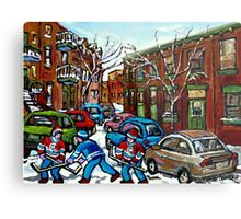 RUE GRAND TRUNK POINTE ST.CHARLES MONTREAL HOCKEY STREET AFTER THE SNOWFALL Metal Print