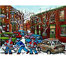 RUE GRAND TRUNK POINTE ST.CHARLES MONTREAL HOCKEY STREET AFTER THE SNOWFALL Photographic Print