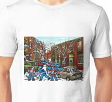 RUE GRAND TRUNK POINTE ST.CHARLES MONTREAL HOCKEY STREET AFTER THE SNOWFALL Unisex T-Shirt