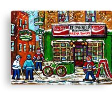 VINTAGE MONTREAL ARENA BAKERY SNOWY DAY FUN PLAYING STREET HOCKEY Canvas Print